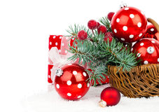 Christmas balls and fir branches with decorations Royalty Free Stock Image