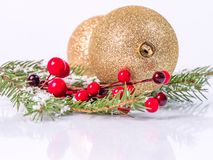 Christmas balls on fir branches stock image