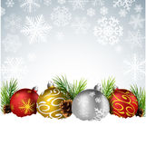 Christmas balls with fir and pine cone on the snow. Illustration of Christmas balls with fir and pine cone on the snow Stock Images