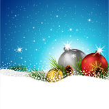Christmas balls with fir and pine cone on the snow. Illustration of Christmas balls with fir and pine cone on the snow Stock Photos