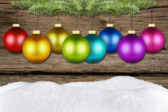 Christmas balls and fir rustic Stock Image