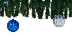 Christmas balls and fir tree branch stock photos