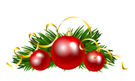 Christmas balls with fir tree branch. Clip art Royalty Free Stock Image