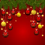 Christmas balls and fir tree branches Stock Photo