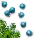 Christmas balls and fir tree branches. Top view Stock Image