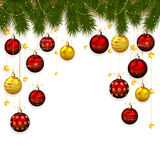 Christmas balls and fir tree branches on white Royalty Free Stock Photo