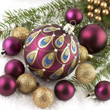 Christmas balls on fir tree,  isolated on white Royalty Free Stock Images