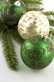 Christmas balls on fir tree,  isolated on white Stock Image