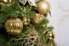 Christmas balls on fir tree. New Year holidays and Christmastime celebration Royalty Free Stock Photo