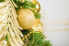 Christmas balls on fir tree. New Year holidays and Christmastime celebration. Background royalty free stock images