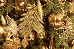 Christmas balls on fir tree. New Year holidays and Christmastime celebration Royalty Free Stock Images