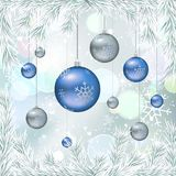Christmas balls with fir twigs and snow. Christmas balls on winter bokeh background with white fir twigs and snow. Vector illustration, template for banners Royalty Free Stock Image