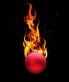Christmas balls in fire Stock Image