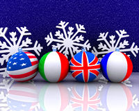 Christmas balls with flag - 3D Royalty Free Stock Photo