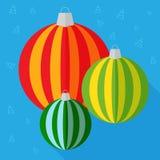 Christmas balls flat design icon. Colourful Christmas balls on blue background. Flat design icon Royalty Free Stock Photos
