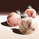 Christmas balls formation. Christmas balls with tribal heart motive, layered and grouped illustration for easy editing Stock Images