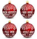 Christmas balls with four languages NL, I, P, CZ. Vector red christmas balls with dutch, italian, portuguese and czech language text Merry Christmas, with snowy stock illustration