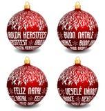 Christmas balls with four languages NL, I, P, CZ Royalty Free Stock Photos