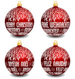 Christmas balls with four languages. Vector red christmas balls with english, german, french and spanish language text Merry Christmas, with snowy top part of royalty free illustration