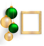 Christmas balls with frame on grayscale Stock Image
