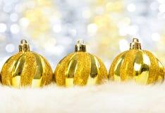 Christmas balls on fur Royalty Free Stock Image