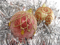 Christmas balls on the garland Stock Images