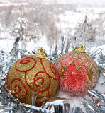 Christmas balls and garland Royalty Free Stock Photo