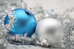 Christmas balls with garland Stock Images