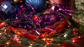 Christmas balls and garland flashing tangled stock footage