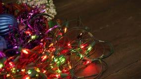 Christmas balls and garland flashing tangled stock video