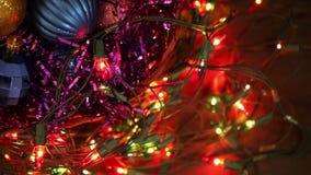 Christmas balls and garland flashing tangled stock video footage
