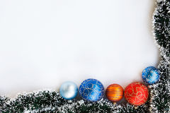 Christmas balls and garland frame Stock Photo
