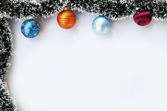 Christmas balls and garland frame Stock Images