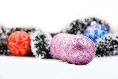 Christmas balls and garland. Stock Photos