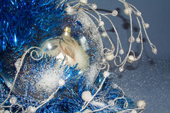 Christmas balls with garlands closeup Stock Photography