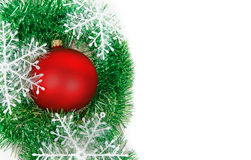 Christmas balls with garlands and snowflakes Royalty Free Stock Photos