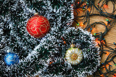 Christmas balls and garlands Stock Images