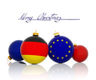 Christmas balls with German Flag and European Union flag Stock Photography