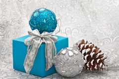 Christmas balls and gift Stock Photo