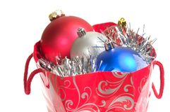 Christmas balls in gift bag Royalty Free Stock Photo