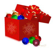 Christmas balls in the gift box. Royalty Free Stock Images