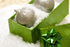 Christmas balls in gift box Royalty Free Stock Images