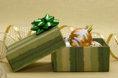Christmas balls and gift box Stock Images