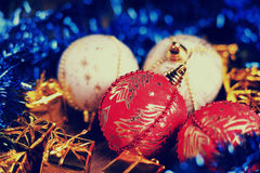 Christmas balls, gift boxes and blue garland Stock Photo