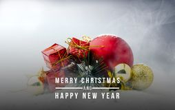 Christmas balls and gift boxes for celebrating Merry christmas and Happy new year stock images