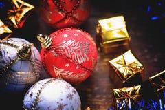 Christmas balls and gift boxes Stock Photos