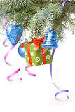 Christmas balls, gift and decoration Royalty Free Stock Photography