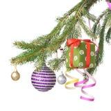 Christmas balls, gift and decoration Stock Image