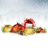Christmas balls with gift, fir and pine cone on the snow. Illustration of Christmas balls with gift, fir and pine cone on the snow Royalty Free Stock Photos