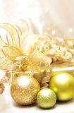 Christmas  balls , the  gift and  the gold decorations Stock Photos